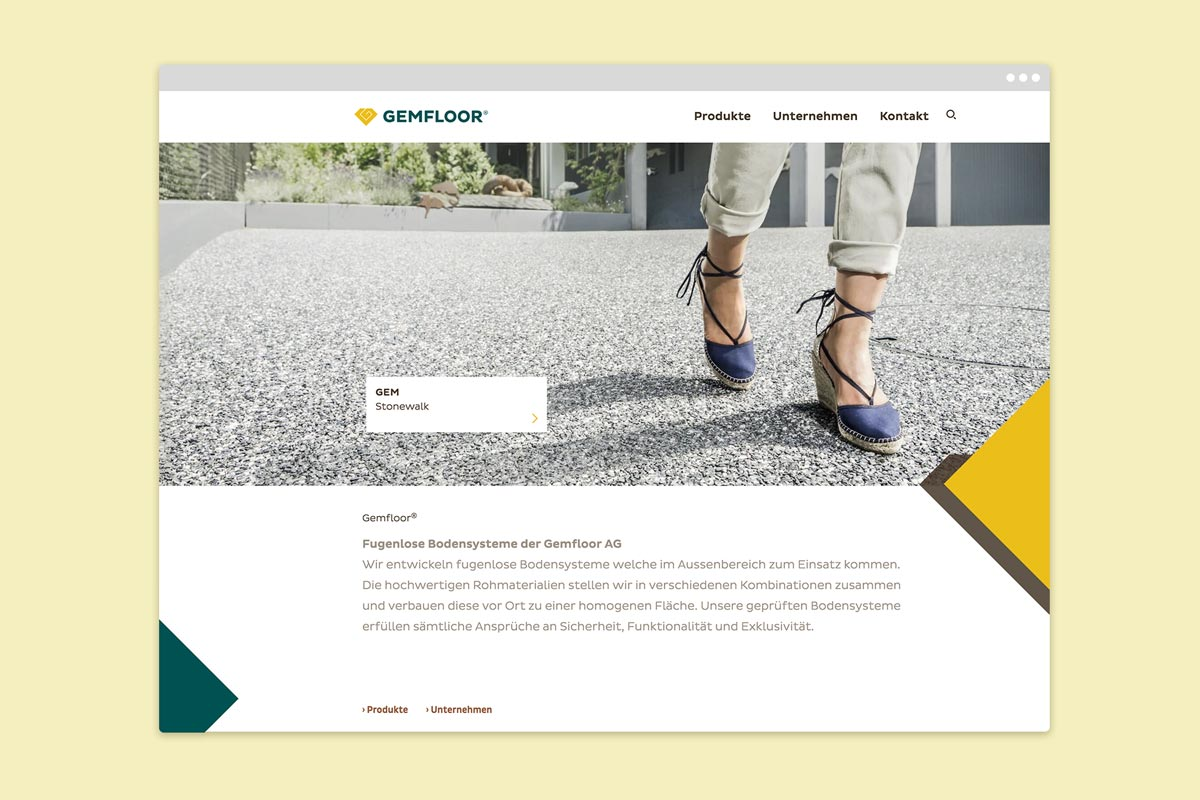 Gemfloor AG, Corporate Design, responsive Website